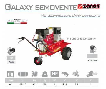 Motocompressore d'aria carrellato Galaxy T.1260 - Honda GX 340 Avv. elettrico 10 cv