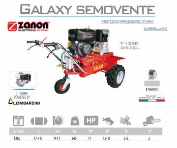Motocompressore d'aria con ruote diesel Galaxy T.1260 - Lombardini 15LD440