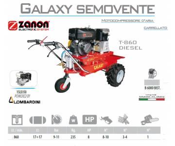 Motocompressore d'aria carrellato Galaxy T.860 - Lombardini 15LD350 Avv. elettrico Motocompressori