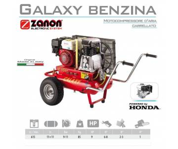 Compressore a motore con ruote 615 lt/min - Galaxy T-615 Honda GX270 8,5 cv - benzina