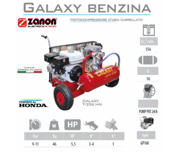 Compressore 356 lt/min con motore GP160 5 cv - benzina