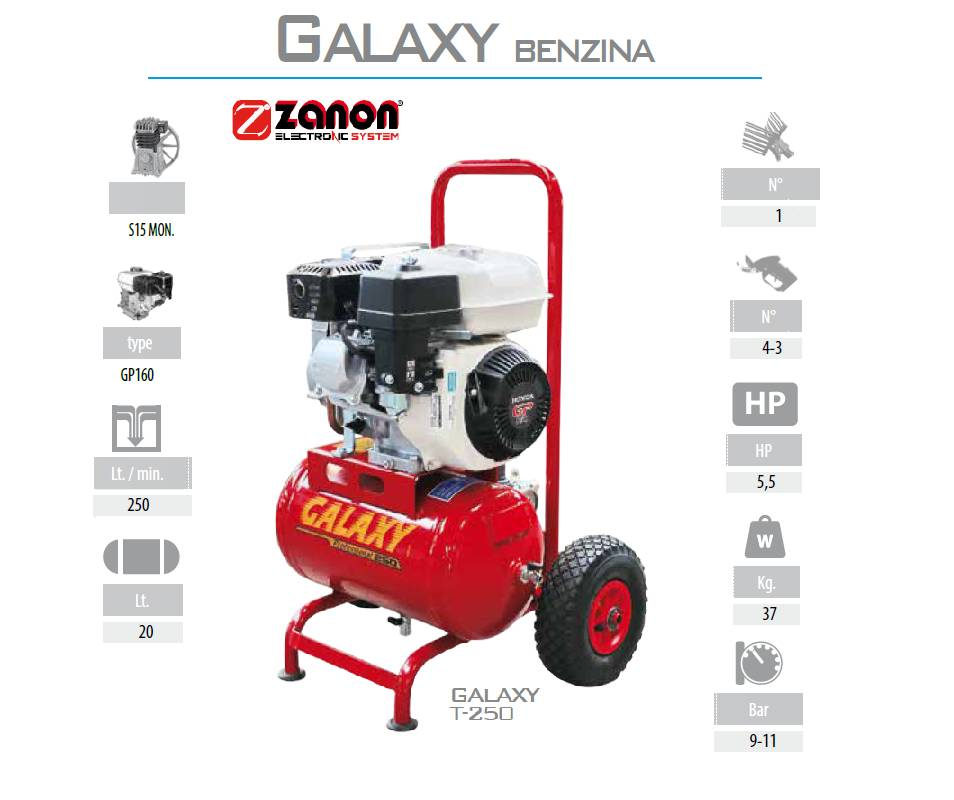 Compressore d'aria a benzina da 250 litri/min - Zanon Galaxy T-250 Motocompressori
