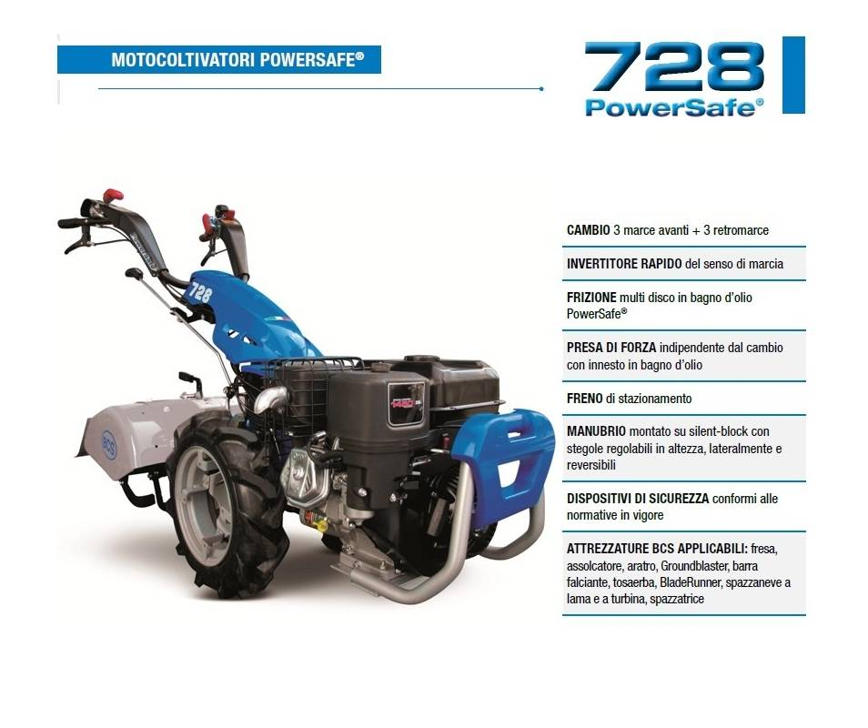 Motocoltivatore BCS 728 - B&S XR1450 9,5 HP benzina