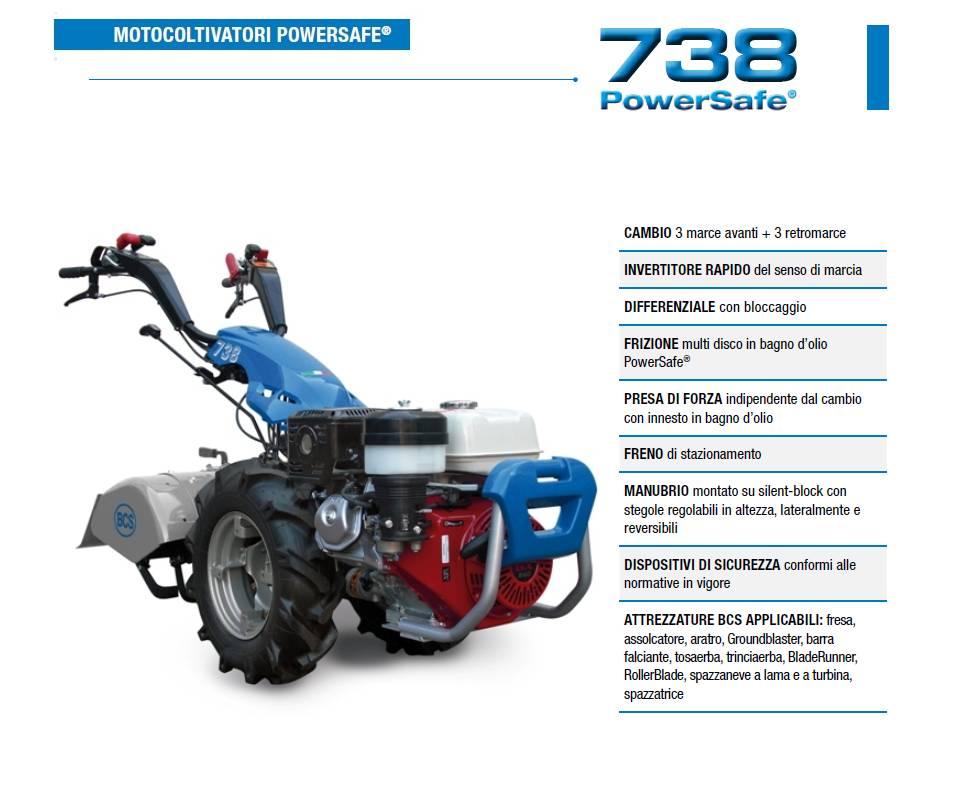 Motocoltivatore BCS 738 HONDA GX270 8,4 HP Avv. elettrico senza batteria BCS