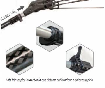 Abbacchiatore con asta telescopica in carbonio 170/250 cm - Karbonium pro telescopic Abbacchiatori