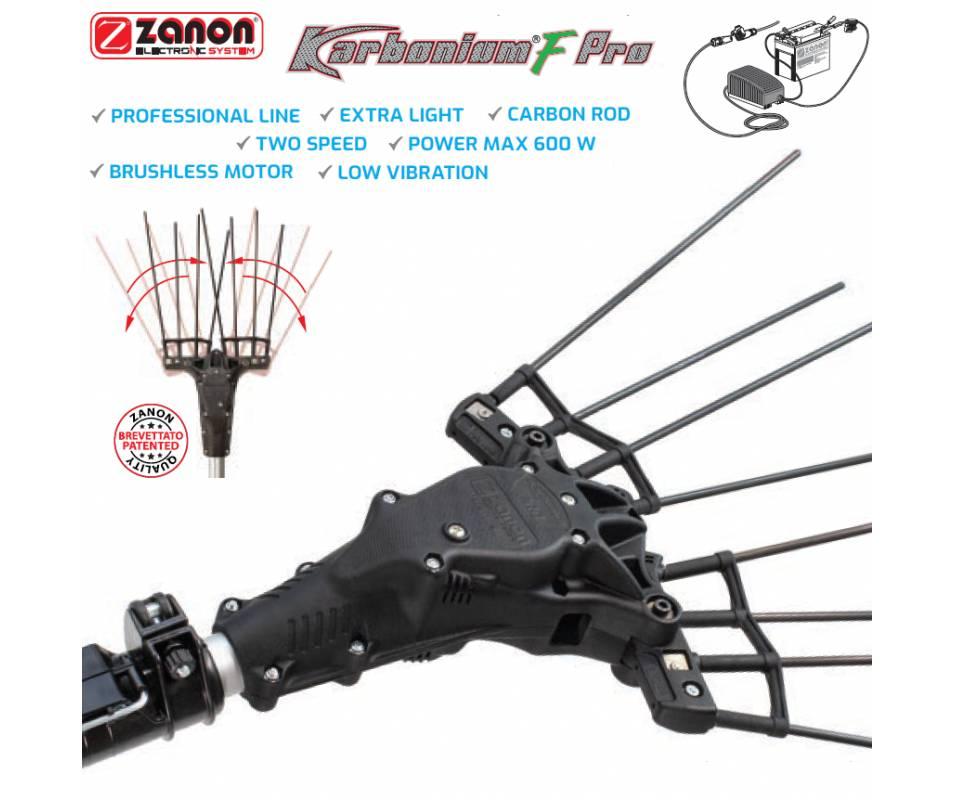 Abbacchiatore elettrico a batteria Zanon Karbonium-F Pro Asta telescopica 170/250 cm Abbacchiatori