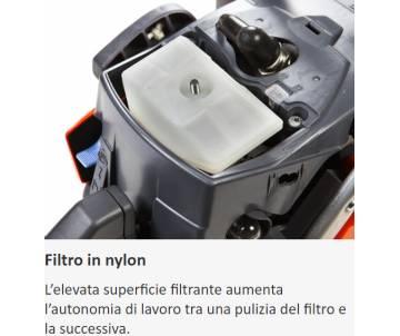 Filtro in nylon  L'elevata superficie filtrante aumenta l'autonomia di lavoro tra una pulizia del filtro e la successiva.